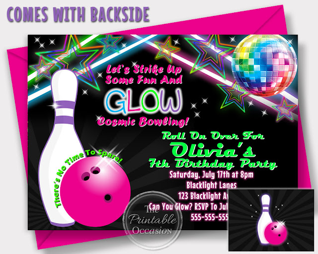 The Printable Occasion - Party Printables Cosmic Bowling Invitations