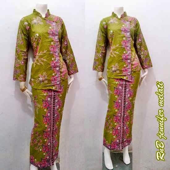 Baju Seragam Batik Kerja Setelan Rok Blus Warna Hijau