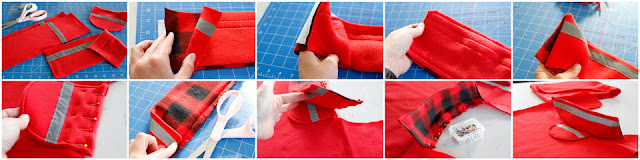 Step-by-step photos how to sew a dog coat collar