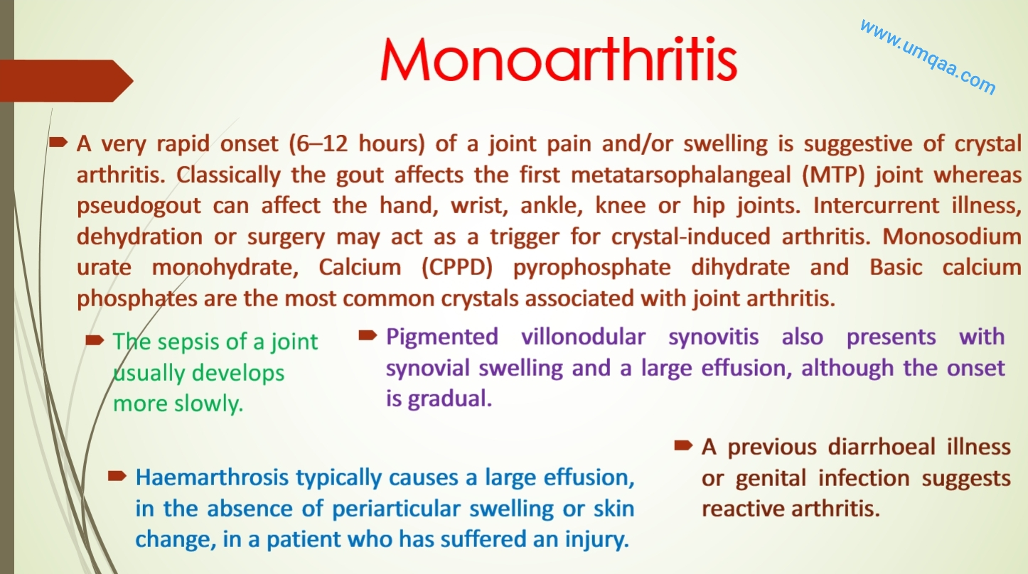 causes of monoarthritis