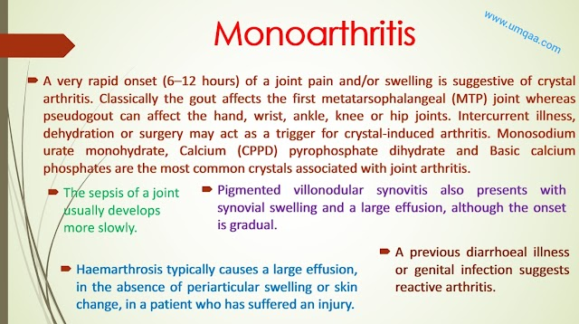 What are the causes of monoarthritis?