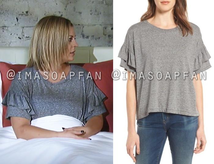 Maxie Jones, Kirsten Storms, Grey Tee with Ruffled Sleeves, General Hospital, GH