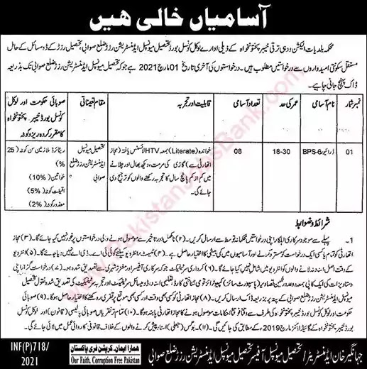 Latest Jobs in Pakistan in Tehsil Municipal Administration Razzar Jobs 2021