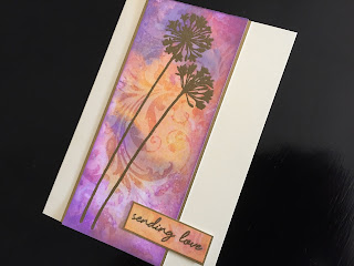 Hand made friendship card with distress oxide stenciled background with stamped and heat embossed flowers