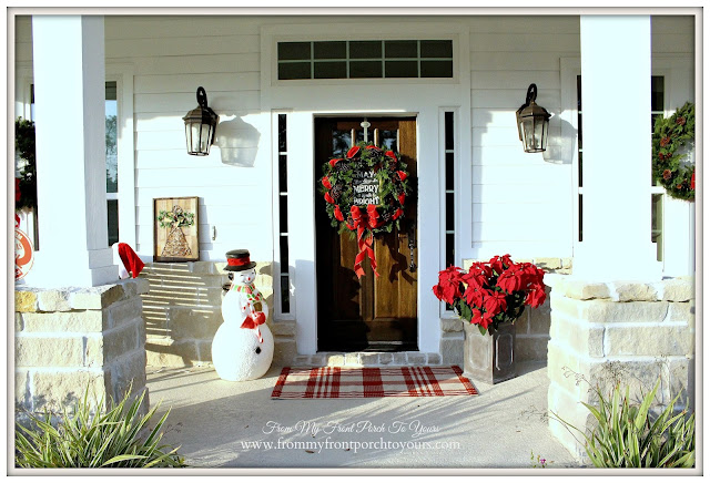 Farmhouse Christmas Porch-Blow Mold Snowman-Christmas Wreath-From My Front Porch To Yours