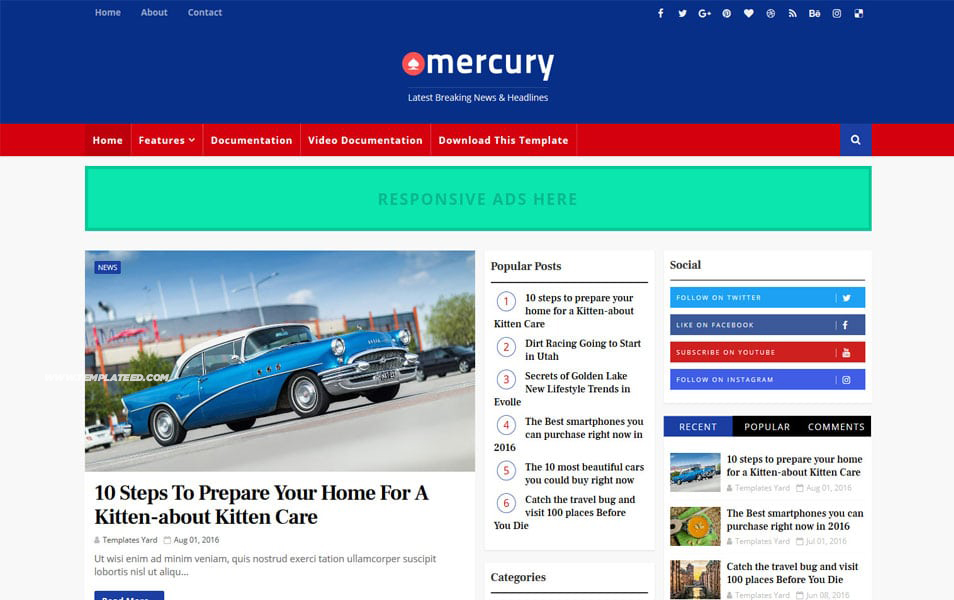 Mercury Responsive Blogger Template