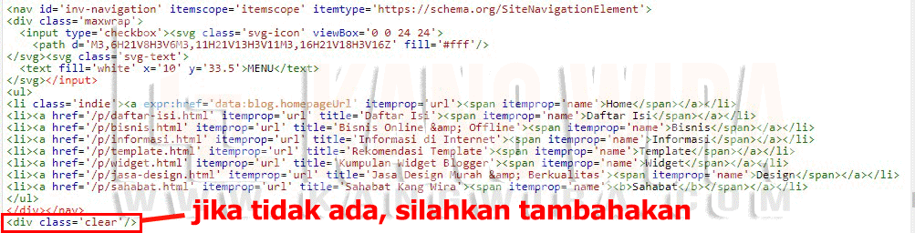 Contoh Elemen HTML Navbar