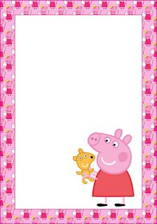 Marcos, Invitaciones, Tarjetas o Etiquetas de Peppa Pig para Imprimir Gratis.