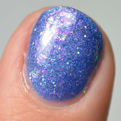 indigo flakie nail polish close up swatch