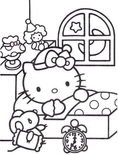 Tranh tô màu mèo hello kitty đi ngủ sớm