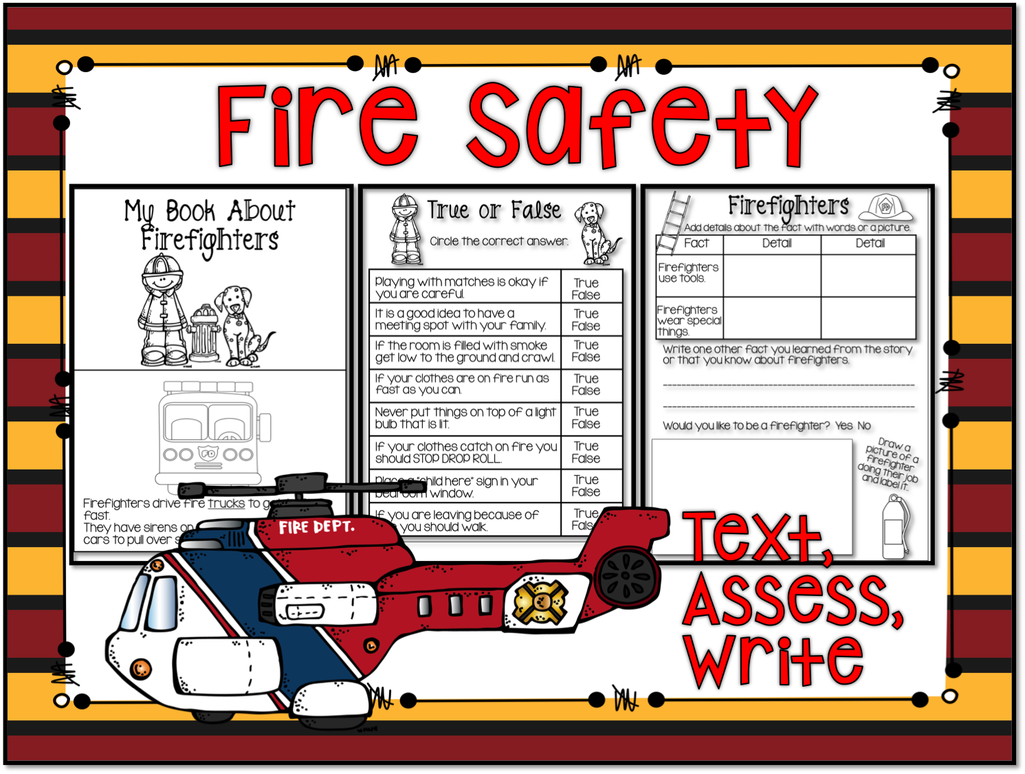 1st Grade Hip Hip Hooray Fun With Fire Safety