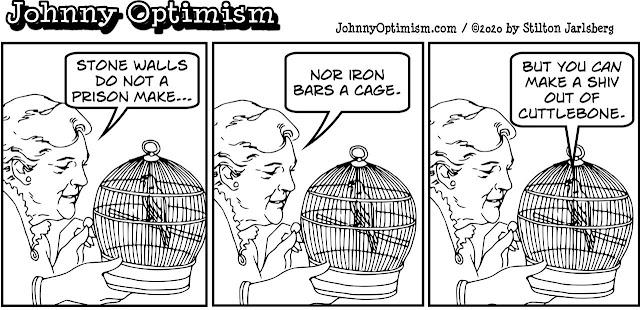 johnny optimism, medical, humor, sick, jokes, boy, wheelchair, doctors, hospital, stilton jarlsberg, love bird, iron bars, prison, shiv, cuttlebone