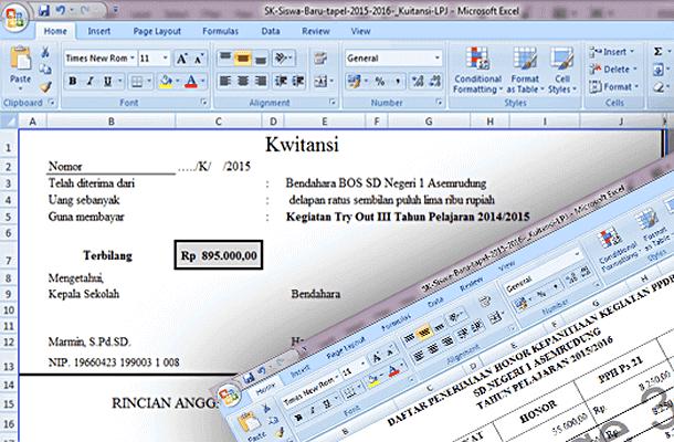 Contoh SK dan Kwitansi LPJ Kegiatan PPDB Format Microsoft Excel