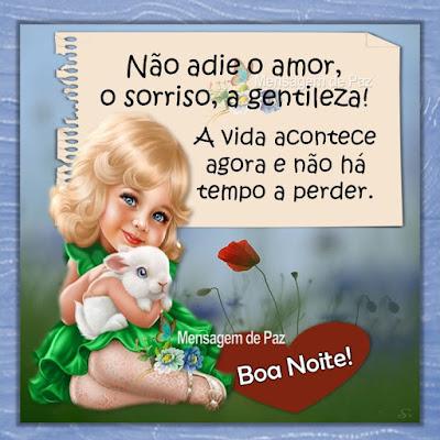 Não adie o amor, o sorriso, a gentileza! A vida acontece agora e não há tempo a perder. Boa Noite!