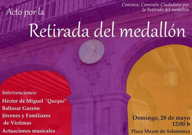 Acto cívico en con motivo de la retirada del medallón del dictador Francisco Franco en Salamanca