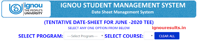IGNOU Date Sheet FEB 2021 : Tentative Date Sheet for December 2020 Term End Examination(06-01-2021)