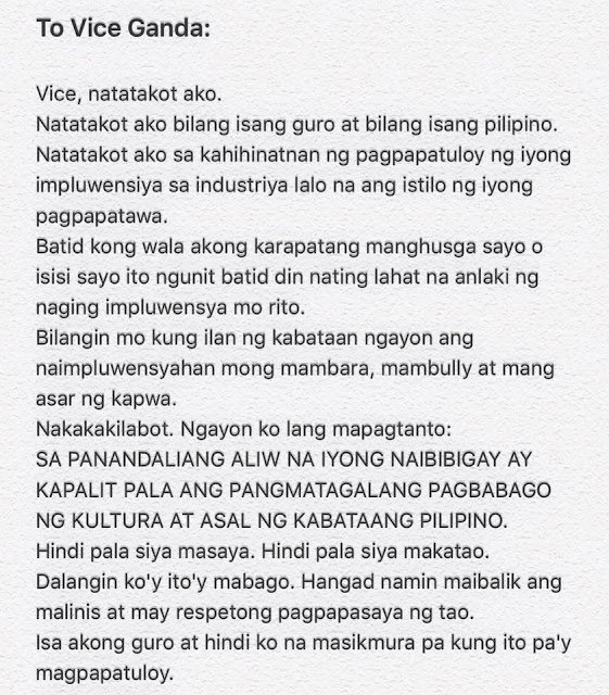"A Teacher's Open Letter For Vice Ganda ""Hindi Pala Siya Makatao."" Has Gone Viral!"
