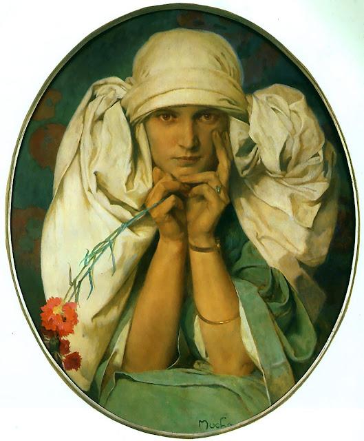 Альфонс Муха - Портрет Ярославы, дочери художника. 1925