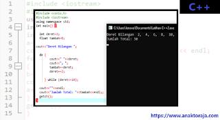 Contoh Program Menjumlahkan Deret Bilangan C++