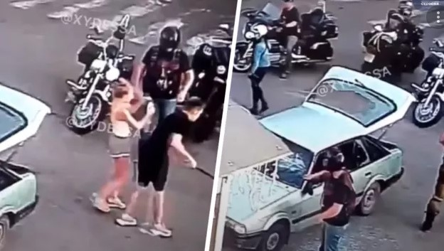В Черкассах байкеры из Одессы жестоко избили молодую пару и разбили автомобиль за обгон на трассе. ВИДЕО