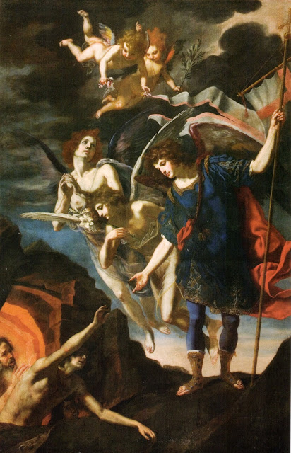 "Archangel Michael ""reaching to save souls in purgatory"" by Jacopo Vignali, 17th century"