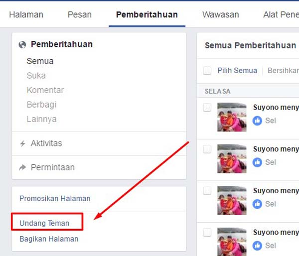 Cara Mengundang Orang Lain Like Fanspage