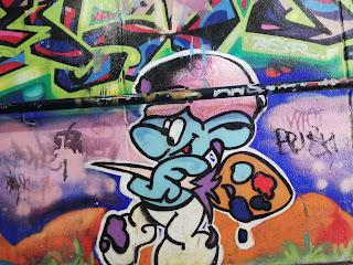 Lawson Street Art | Pedestrian Tunnel full of smurfs