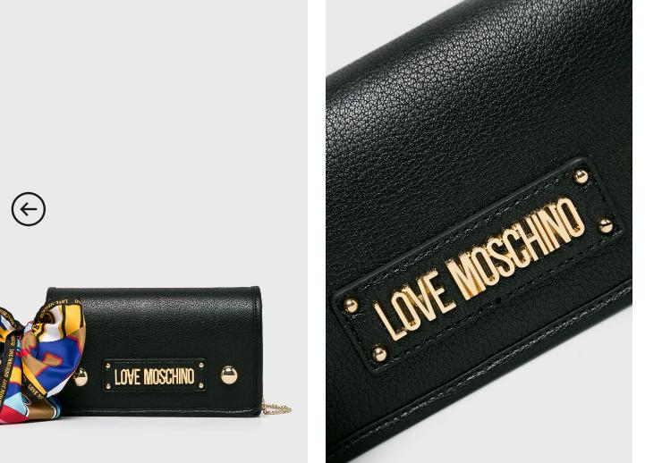 Love Moschino - Poseta neagra mica casual cu lant auriu