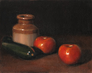 Still life oil painting of tomatoes, a zucchini and an earthenware jar