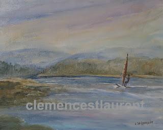 Véliplanchiste sur la Baie des Chaleurs, huile 8 x 10 par Clémence St-Laurent