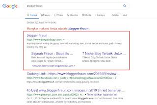 Penampakan sitelink untuk keyword bloggerfiraun (sitelink diberikan oleh Google secara alami)