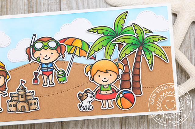 Sunny Studio Stamps: Coastal Cuties, Beach Babies & Seasonal Trees Catch A Wave Summer Beach Themed Card by Juliana Michaels (using Woodland Borders & Fluffy Cloud Dies)