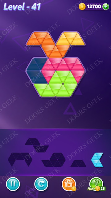 Block! Triangle Puzzle 5 Mania Level 41 Solution, Cheats, Walkthrough for Android, iPhone, iPad and iPod