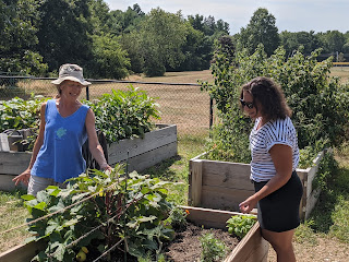 Jen Kuse showing one of the garden beds to Lynn Calling