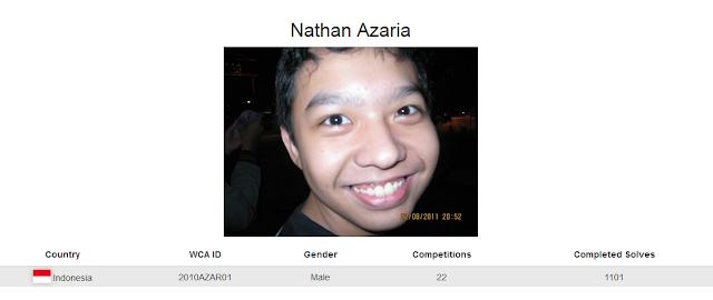 Profile akun WCA Nathan Azaria yang merupakan peringkat pertama sekaligus pemegang rekor nasional rubik clock kategori single