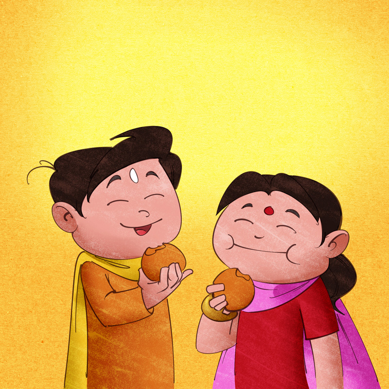Kids eating laddu