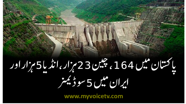 There are 164 Dams in Pakistan, in China 23 thousands, India 5 thousands and in Iran 5 hundred
