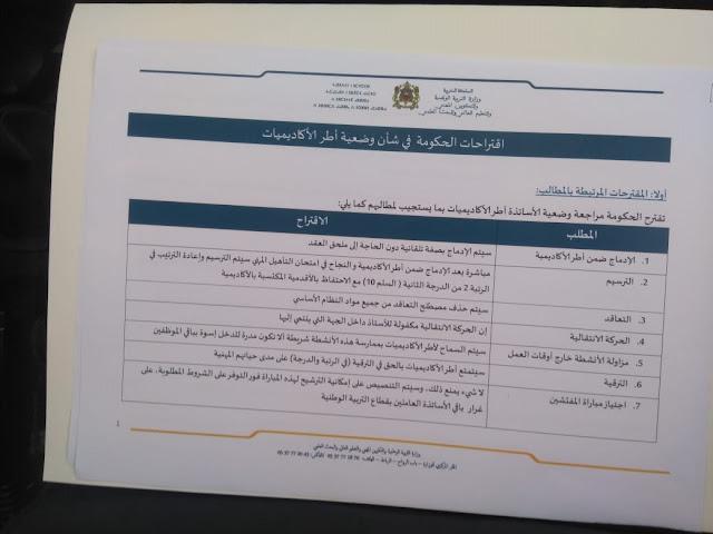 عرض الحكومة حول موضوع الأساتذة المتعاقدين في الحوار الذي جمع  سعيد أمزازي والنقابات التعليمية
