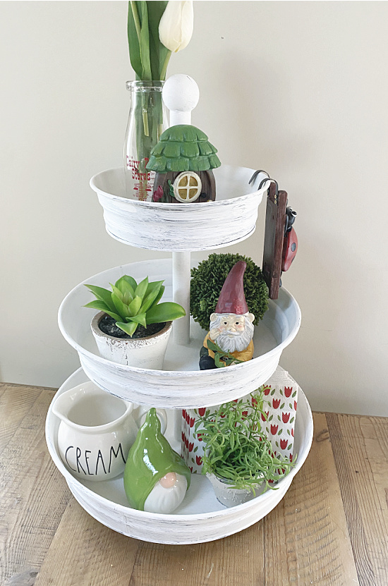 white tiered tray with Spring decor