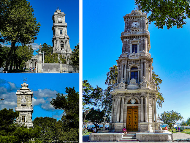 A torre do relógio, nos jardins externos do Palácio de Dolmabahçe, em Istambul