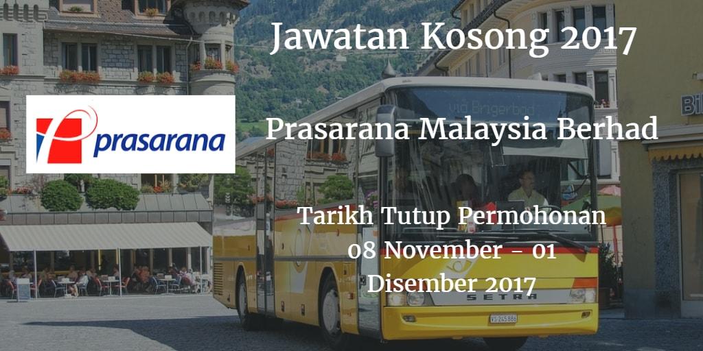 Jawatan Kosong Prasarana Malaysia Berhad 08 November - 01 Disember 2017