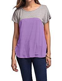 Buy Women's Color Block Short Sleeve Jersy Tee Shirt Tops