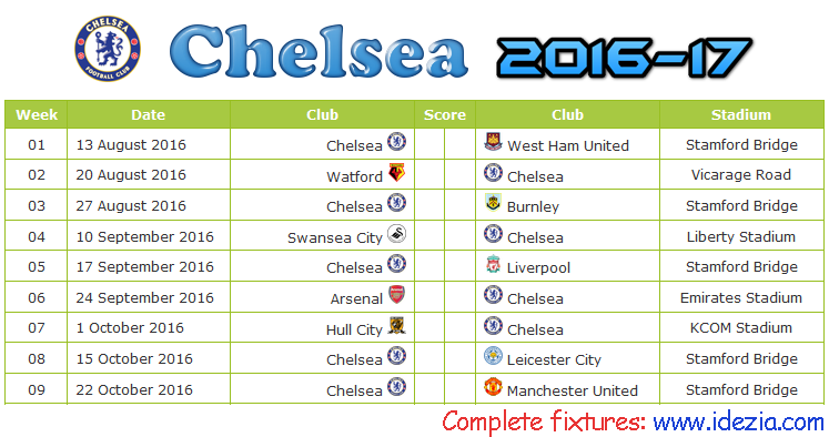 Download Jadwal Chelsea FC 2016-2017 File JPG - Download Kalender Lengkap Pertandingan Chelsea FC 2016-2017 File JPG - Download Chelsea FC Schedule Full Fixture File JPG - Schedule with Score Coloumn