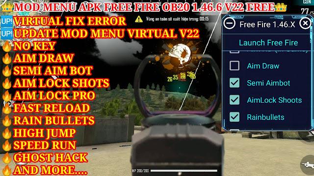 MOD MENU APK FREE FIRE OB20 1.46.6 V22 FREE - NO KEY, SEMI AIM PRO, AIM LOCK SHOTS PRO, GHOST HACK.
