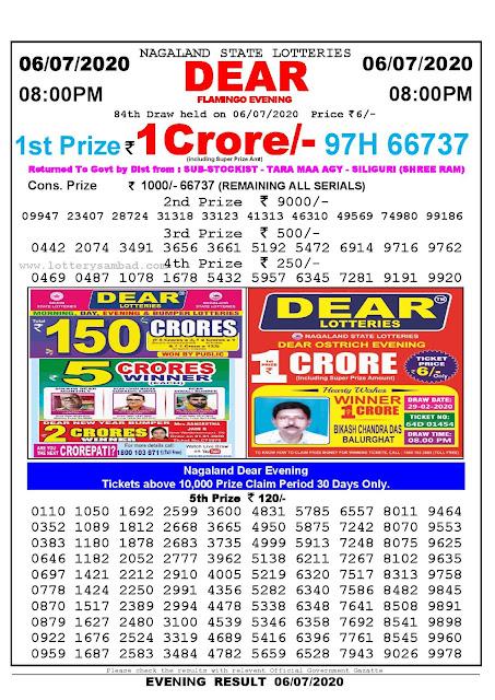 Nagaland State Lotteries 2020 Lottery Sambad Result 8:00 PM