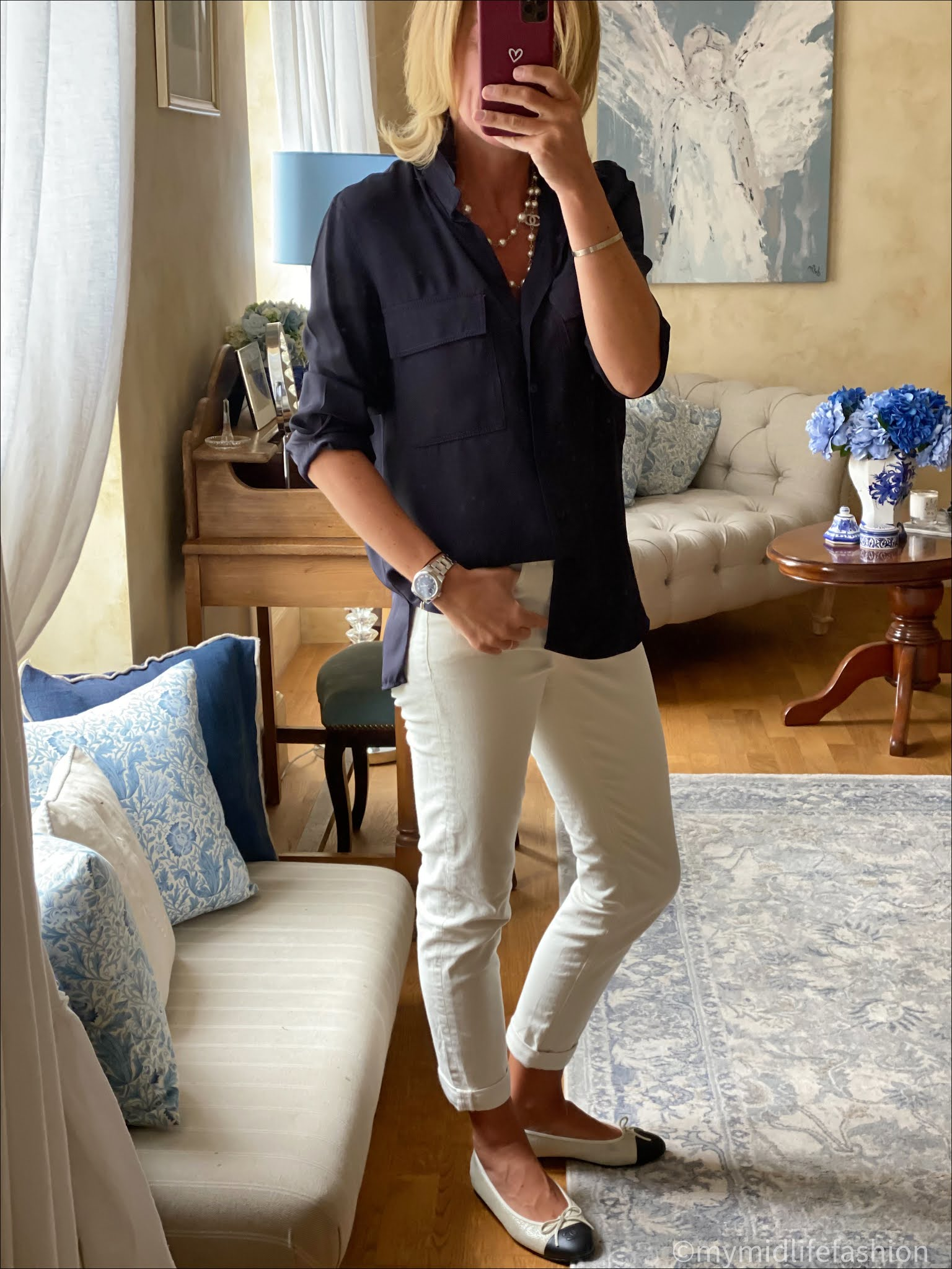 my midlife fashion, Massimo Dutti shirt, Chanel pearls, Boden the girlfriend jeans, Chanel two tone ballet pumps