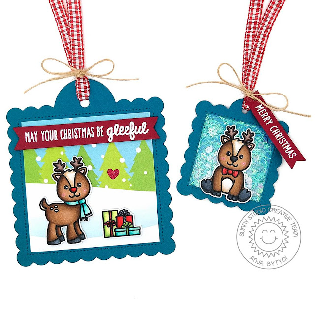 Sunny Studio Stamps: Scalloped Tag Dies Gleeful Reindeer Holiday Tag by Anja Bytyqi