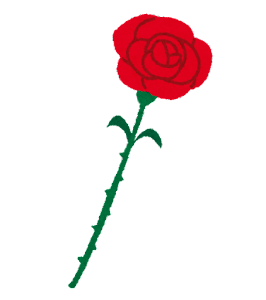 いろいろな一輪のバラの花のイラスト(赤)