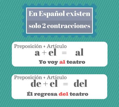 imagen con el uso de contracciones en español