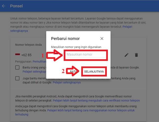 Gambar untuk Cara Mengganti Nomor Telepon Pemulihan Akun Google / Gmail